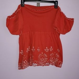 Red Cold Shoulder Cut Out Blouse [KENAR]